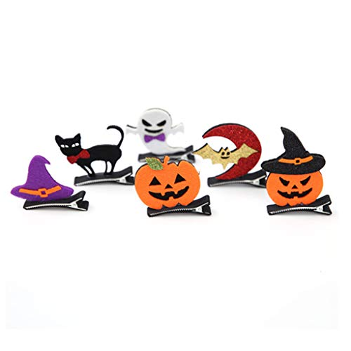 Qiman - 6 Stück, Halloween Nicht Gewebt Kürbis Haar Klammern, 3D Geist Katze, Frau Kinder Styling Alligator Haarnadel, Cosplay Kostüm, - Kostüm Kinder Katze Frau