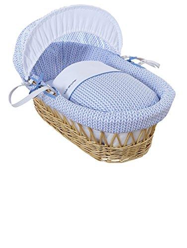 Clair de Lune Babykörbchen, natürliches Weidenkörbchen mit Gerstenmuster, inkl, Bettwäsche, Matratze & verstellbarer Abdeckhaube, Blau