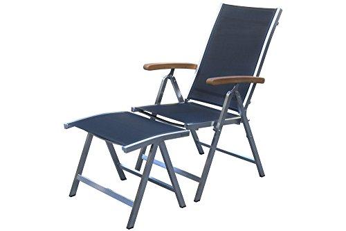 OUTFLEXX Multipositionssessel inkl. Hocker aus rostfreiem Edelstahl, Sitzfläche aus hochwertiger Textil-Textilene in schwarz, Klappsessel mit Fußhocker, Relaxsessel, Relaxstuhl klappbar, verstellbar