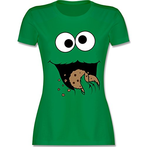 Karneval & Fasching - Keks-Monster - L - Grün - L191 - Damen T-Shirt ()