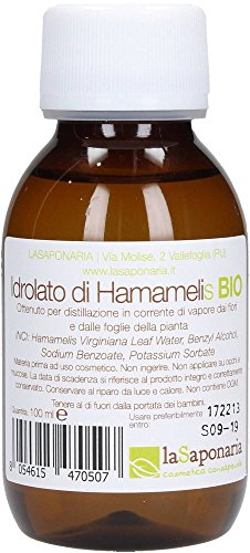 LA SAPONARIA - Bio Hamamelis Hydrosol - Regenerierende und reinigende Wirkung, ideal für unreine Haut - Alkoholfrei - Vegan - 100 ml