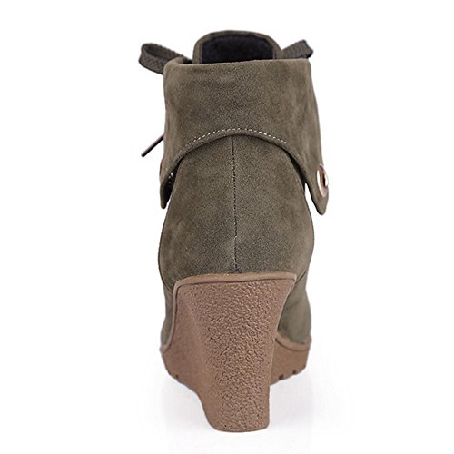 COOLCEPT Femmes Bottes A Lacets Bottines Compense Army Green