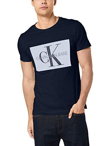 Calvin klein jeans uomo maglietta con logo monogram box, blu, s