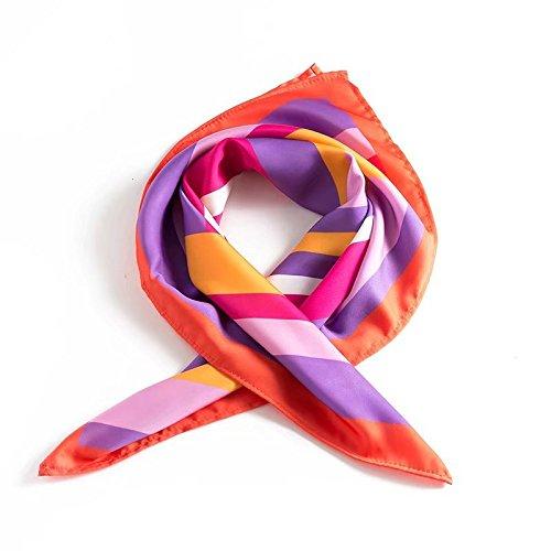 TIANLU Stilvolle Gedruckt Seidenschal Europäischen und Amerikanischen Wind Geometrischen Streifen Gedruckt Seide Schals, Schmuck, Farbe, 54-55 cm