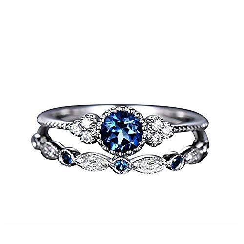 Damenmode Doppelschicht Strass Ring Knuckle Ring Ringe Set mit Tiny CZ Intarsien Modeschmuck (Blau) -