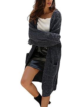 Simplee Women 's Casual Knit Cardigan Sweater frente abierto de manga larga chaqueta Outwear con bolsillos