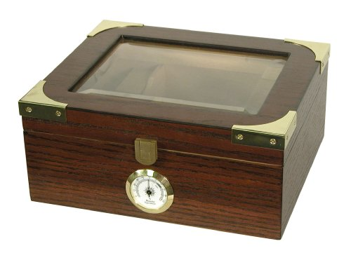 Quality Importers Desktop Humidor, Capri Elegant, Tempered Glasstop, Cedar Spanish Divider, Brass Ring Glass Hygrometer, Holds 25 to 50 Cigars, by Quality Importers