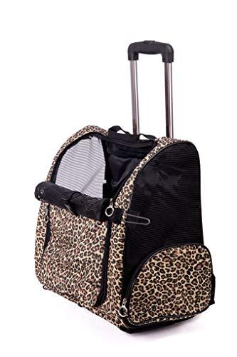 ufkatzen-Taschen-Reise-Träger-Rad-Rollen-Rucksack-Träger-Haustier-Gepäcktasche Breathable Nylon faltbar für Kleine/mittlere Katze u. Hund Leopard L ()