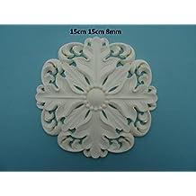 Decorative round center applique onlay furniture moulding R101 (off white)