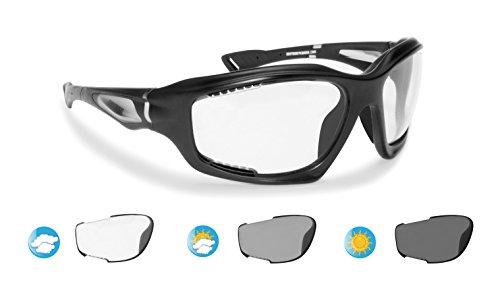 Bertoni occhiali fotocromatici sportivi antivento avvolgenti prodotti in tpx antiurto per ciclismo mtb running moto sport acquatici kitesurf - f1000a lente cat. 0-3