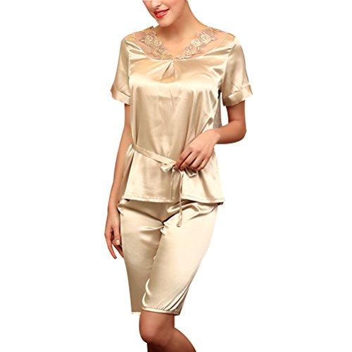 Zhhlinyuan Ladies Satin T-shirt and Short Set Pyjamas Nightwear g001 Light Tan