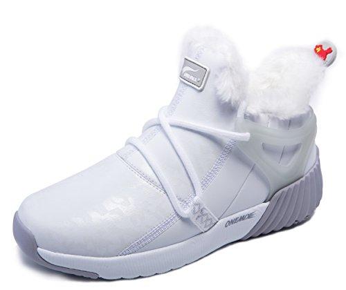 ONEMIX Herren Warm Gefütterte Schuhe Damen Outdoor Stiefeletten Schneestiefel für Winter Grau/Weiß 39 EU (Weiße Winter Boots)
