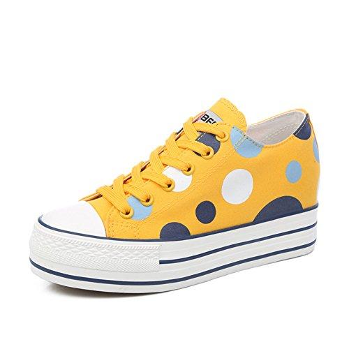 Estate scarpe di tela/Versione coreana dei pattini della piattaforma estate/Sneaker moda casual traspirante/Punto corrente-C Lunghezza piede=24.8CM(9.8Inch)