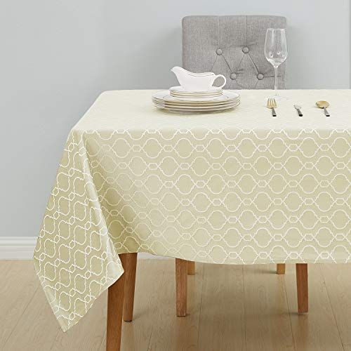 Deconovo Tischdecke Tischwäsche Wasserabweisend Tischtücher Lotuseffekt 130x280 cm Creme