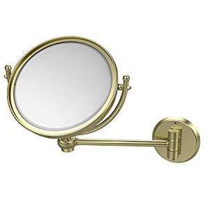 Allied Brass WM-5T/5X-SBR 8-Inch Wall Mounted Make-Up Mirror with 5x Magnification, Satin Brass