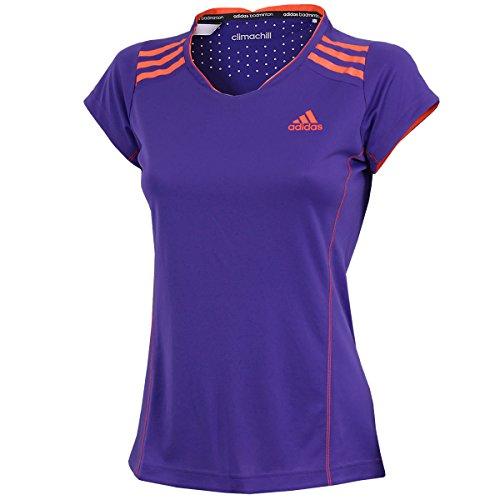 adidas Damen Climachill Shirt Badminton Sportshirt (Night Flash-solar red, S)
