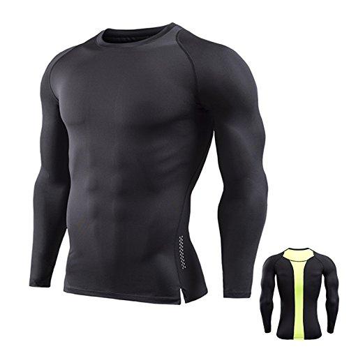 76aa301cbc29 Männer Sport Fitness Tight Shirts Schnell Trocknend Atmungsaktiv Langarm  Kompression T Shirt Schwarz + Gelb XL   US L