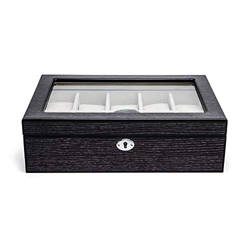 TGDY 10 Gitter Hölzerne Uhrenbox, Schmuck Armband Display Collection Aufbewahrungsbox, Case Piano Lackiertes Holz, Vintage HD Glass (Lackierte Aufbewahrungsbox)