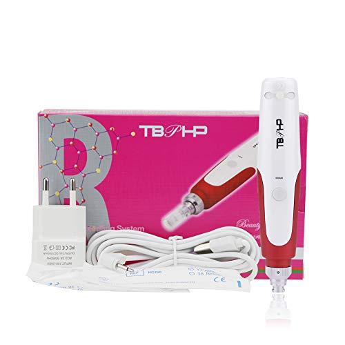 dermapen elektrisch Microneedling Pen 0.25mm-2.0mm,microneedling roller,incl. 2x Aufsatz mit 12 Micronadeln, verstellbare Nadellänge und Geschwindigkeit (Rot)