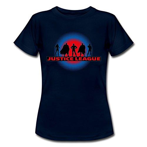 DC Comics Justice League Umrisse Superhelden Frauen T-Shirt von Spreadshirt®, XXL, Navy