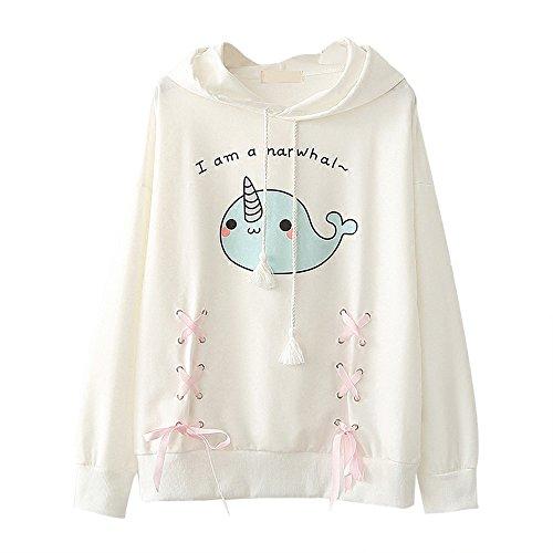 Himifashion - Camiseta de Manga Larga - Animal Print - Cuello Redondo - para Mujer Blanco Blanco Talla única