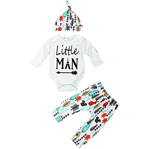 Ularma Pagliaccetto Del Bambino Neonati Lunga Camicia + Pantaloni+ Cappello