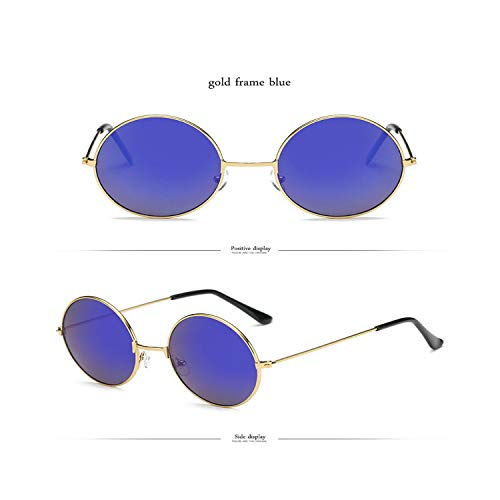 FGRYGF-eyewear2 Sport-Sonnenbrillen, Vintage Sonnenbrillen, NEW Rainbow Round KUNSTSTOFF Sunglasses Women Candy Farbe Classic Retro Sun Glasses Men Lunette De Soleil Femme gold blue