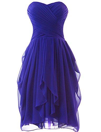 Huini - Vestito corto da damigella d'onore, in chiffon increspato, senza spalline, adatto anche per balli studenteschi Royal Blue
