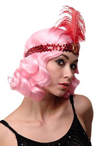 DRESS ME UP - Haarband Haarreif Stirnband Stirnreif Pailletten rot Charleston 20er Cabaret Feder VQ-006-RED