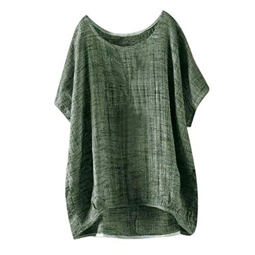 YEBIRAL Mujeres Casual Tallas Grandes Camiseta Camisa Manga Corta Suelto Casual Redondo Cuello Color Sólido Túnica Tops de Verano Blusas(XL,Ejercito Verde