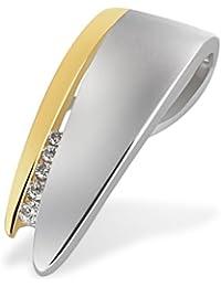 Goldmaid Damen-Anhänger Bicolor 585 Gelbgold 5 Diamanten 0,05 ct. Pa A5230BI Brillanten Schmuck