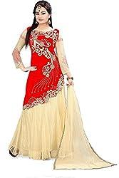 Fabcartz Solid Net Lehenga Choli Dupatta Set (FabC_5_Beige Red_Free Size)