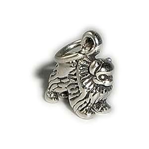 Charm Pendentif Chien Spitz Nain Argent sterling 925/1000