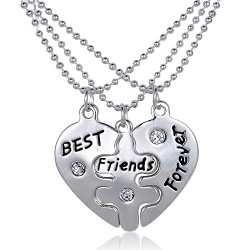 Bold N Elegant - Be Bold Inside & Elegant Outside Silver Plated Non-Precious Metal Friendships Day 3 Best Friends Forever Trio Necklace Pendant Chain for Men and Women-Combo of 3 Jewelry Pieces