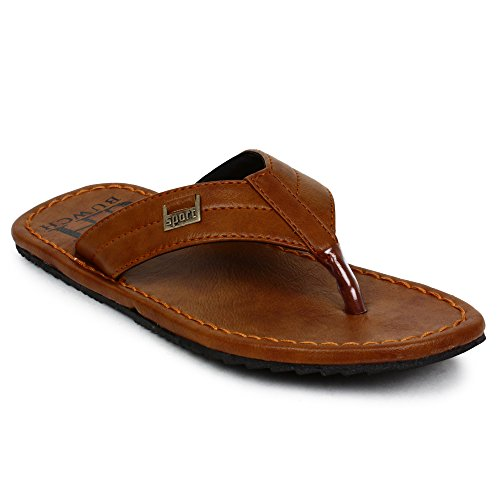 Buwch Mens And Boys Synthetic Leather Comfortable Lightweight Tan Slipper  available at amazon for Rs.299