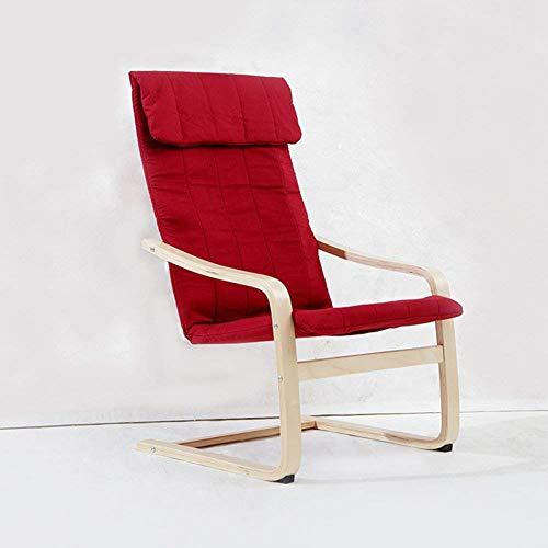 Hohe Rückenlehne Aus Bugholz Stuhl (Recliners Haushalt Freizeit einzigen Rückenlehne Sessel Faule Mittagspause Sonnenliege Stuhl im Freien Garten Balkon Liegestühle - Traglast 100kg (Farbe: ROT) (Farbe : Rot))