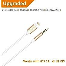 IPhone 7 y 7 más Sunshot relámpago a 3,5 mm macho cordón auxiliar de oro - Premium auriculares adaptador a estéreo de coche (3,5 mm cable Aux 3,3 pies) (dorado)