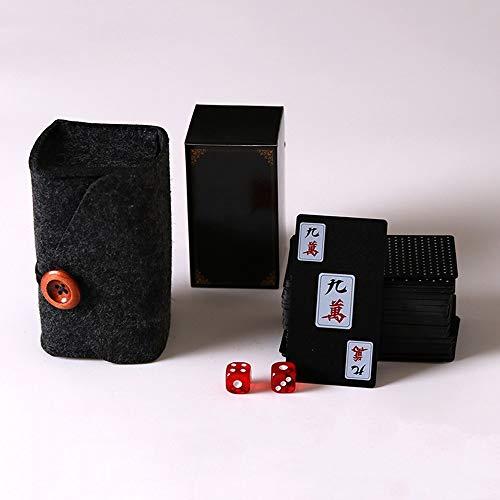 arte Mahjong Spielkarten Peeling Verdicken Kunststoff Reise Tragbare Haushaltshandschellen Mini Papier Will (Color : Felt bag) ()