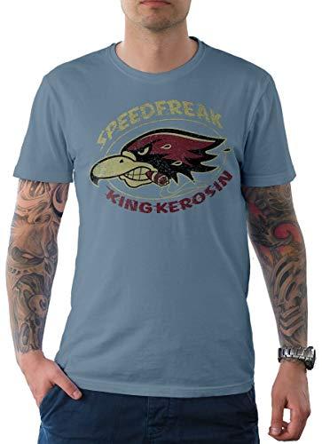 King Kerosin Herren T-Shirt Tee Speedfreak Hellblau S