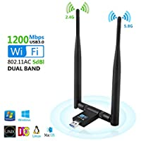 Anbaituor USB Wifi Adapter, 1200Mbps Wifi Dongle USB 3.0 Dual Band 5GHz/2.4GHz 802.11ac Detachable Antennas Wireless Network Stick for PC/Desktop/Laptop, Support Windows XP/Vista, Linx Mac OS (Black)