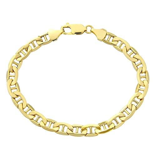 Armband 14 Karat 585 Gold Italienisch Flach Mariner Gelbgold Armkette Breite 4.70 mm (21)