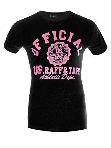 M450 RAFF & TAFF Herren Shirt T-Shirt Kurzarm U-Neck Clubwear U-Ausschnitt Schwarz-Pink