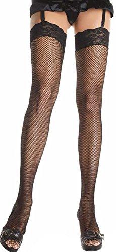 Netzstrümpfe Strapsstrümpfe Schwarz (Leg Avenue Damen Netz Strapsstrümpfe in schwarz transparent Einheitsgröße ca. 36 bis 40)