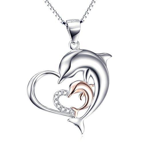Donna collana argento 925 cuore ciondolo con zirconi due delfino pendente,45cm