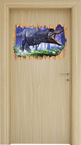 T-Rex Dinosaurier im Wald Kunst Buntstift Effekt Holzdurchbruch im 3D-Look , Wand- oder...