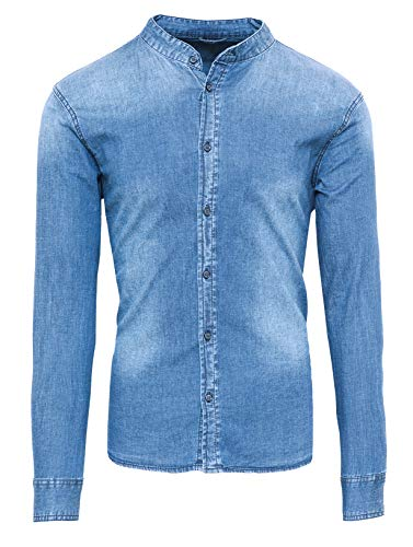Evoga camicia di jeans uomo casual con collo alla coreana slim fit (s, celeste)