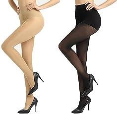 Devil Girl Pack of 2 High Waist Stockings Super Fine Fiber Excellent Stretch Sheer Tights Long Comfort Super Soft Pantyhose Black and Skin