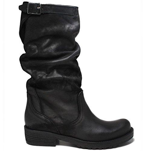Stivali Biker Boots Metà Polpaccio Donna In Time 0155 Nero Arricciati in Vera Pelle Made in Italy