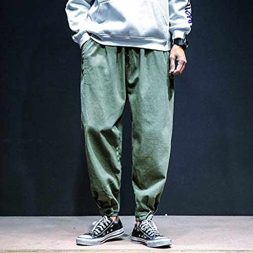 b0c14ed25547e1 Dragon868 Pantaloni Uomo Cotone Pantaloni Larghi Comode con Tasche Hip-Hop  Stile Pantaloni Harem Leggere Traspirante