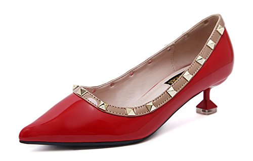 Scarpe Donna Aisun Caviglia Cinghia Sottolineato Rivetti Sexy Rosse fXwpUwqPx